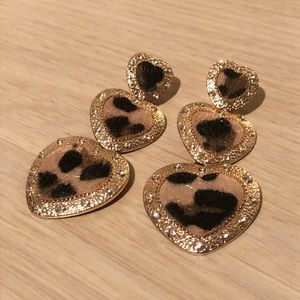 Anthropologie Leopard Heart Statement Earrings